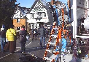 Don't shiver, it's supposed to be Spring (look at the snow on the roof)!  BBC tv filming for UK tv at the end of January.