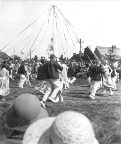 Horsted Keynes: Maypole dancing on the green 1935.