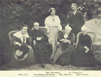 "Esteemed meeting at Horsted Keynes: Mrs Davidson, A.C. Benson who wrote ""Land of Hope and Glory"",  Miss Tait, Archbishop Davidson - The Archbishop of Canterbury, Mrs. Benson, Mrs. Cooper."